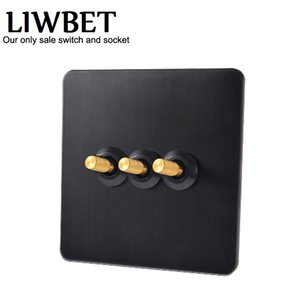 Black color 3 gang 2 way Wall Switch and AC220~250V Stainless steel panel Light Switch