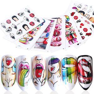 9 unids uñas calcomanías de agua labios sexy etiqueta engomada del clavo pop chica fresca marca de agua belleza deslizador decoraciones manicura