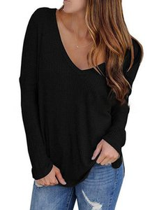 2020 Spring Fashion Women's T-Shirt New Women's Waffle Regular Long Sleeve Deep V Loose T-Shirt Large size