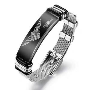 Harley série crânio pulseira de titânio branco pulseira de motocicleta transporte livre locomotiva de aço cor preta