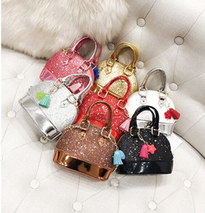 Children Mini Shoulder Bags for Girls Shinning Glitter Purse for Toddler Kids Shell Sequin Bags with Chain Cute Handbags 8 color