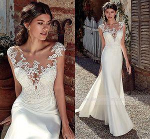 2020 vestidos de boda de la cucharada de la sirena de Modest suave raso con apliques de encaje transparente ilusión vestido de novia Volver caliente de la venta