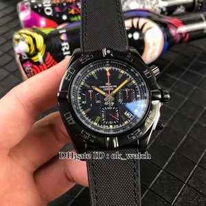 Nueva 43mm Chronomat MB0111C3 | | BE35 253S | M20DSA.2 cuarzo del Mens del cronógrafo del reloj Dial Negro correa de caucho negro de acero de los señores wWatches deporte