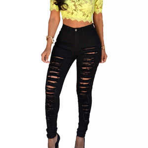 NIBESSER 2020 Women Casual Pants Brand Fashion Pencil Pants High Waist Hole Skinny Elastic Pant Slim Women Trousers Plus Size