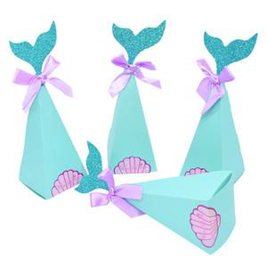 10 / 20pcs Little Mermaid cauda doce caixas de doces DIY casamento favorece caixas de presente festa de aniversário crianças decoração do chá de fraldas Supplies