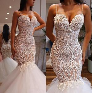 2020 Lace Mermaid Wedding Dresses Spaghetti Strap Sweetheart Neckline Illusion Bridal Gowns Trumpet Wedding Dress Beads Vestido De Novia