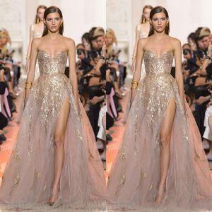 2020 Elie Saab Sexy ouro Applique A Linha Prom Dresses Querida High Side Dividir Evening vestido de festa vestido Wear Vestido Robe De Soiree
