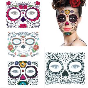 Мексиканский Halloween Decor лица татуировки наклейки Макияж лица Наклейка День Мертвых Череп маска для лица водонепроницаемый Маскарад татуировки JK1909