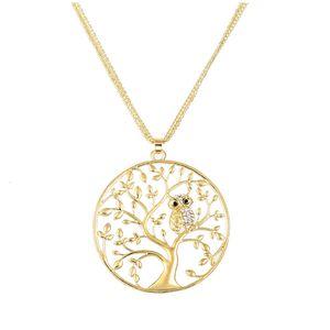 Neue Kreative Eule Anhänger Halskette Hohlen Tier Lebensbaum Halsketten Hohe Qualität Strass Legierung Schmuck Geschenke