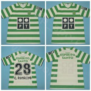 2003 2004 Retro Cristiano 28 Ronaldo Jersey Futbol Sporting CP Lizbon Luis Figo Liedson Bento Takım Yeşil Futbol Gömlek Setleri Üniforma