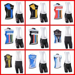 Giant Team Cycling Sleeveless Jersey Vest Bib Shorts Sets Breathable Racing Bicycle Cycling Clothing 2019 N03029020