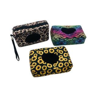 Neoprene Tissue Boxes leopardo Girasole zebra bambino stampato Wet Wipe Casi all'aperto viaggio scatole di carta 60pcs ST817