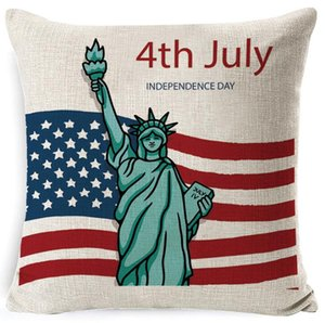 DHL July 4th Decorative Throw Pillow Cover American Flag Pillow case Home Decor nd Linen Cushion Case for Sofa Couch 45*45cm