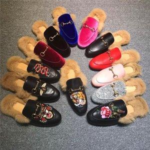 Holgazanes de la venta caliente-piel de las mujeres zapatillas de gamuza zapatos mulas Pisos mula diseñador de moda de cuero genuino Zapatos con cadena de metal