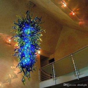 Coloré lumineux bleu moderne Lustre Lampes LED Lustre en verre soufflé bouche grand lustre Luminaire