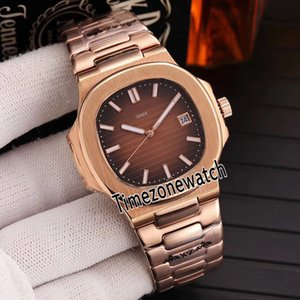 Nuovo Nautilus 5711 / 1R-001 Rose Gold Brown texture Dail Miyota 8215 Automatic Watch Mens Sapphire Orologi Timezonewatch D22f6