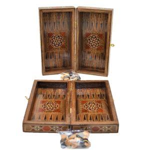 Vintage Game Set a mano a motivi naturali in legno massello Backgammon, Scacchiera, checkers set per bambini e adulti di piccola dimensione