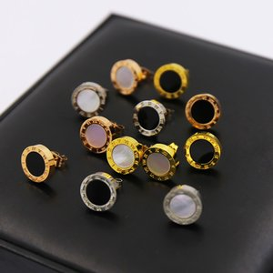 2019 marca quente 1.2 CM titanium aço redondo romanos shell ágata brincos casal jóias presente