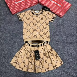 Menina de terno verão coreana Crianças tutu vestido puro algodão de manga curta Twinset Em Will Criança Carta Stripe Vestido roupa do bebê set 092011