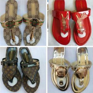 2020 Marken Wonen Sandalen große Größe 36-42 Flip-Flops rote Sandalen mit Gummisohle mit Web-Gummiband-Frauen Versace-Hausschuh freien Verschiffen