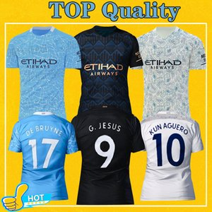 Man Manchester Soccer Jersey City 2021 Deplasman Üçüncü Maillot De Ayak Kun Agüero Mahrez 20 21 STERLING Bay Çocuk Futbol Gömlek kiti