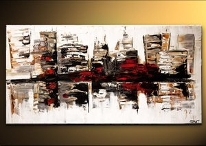 Handmade Good Quality Modern Cityscape Painting for Living Room Bedroom City Wall Art on Canvas Home Decoration