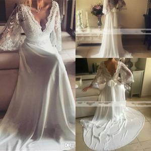 Bohemian Wedding Dresses Deep V Neck Illusion Lace Applique Backless Long Sleeve Boho Chiffon Beach Wedding Dress Bridal Gown Vestidos