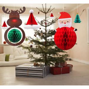 Noel Süslemeleri Kardan Adam Elk Ren Geyiği Için Noel Baba Noel Ağacı Alışveriş Salonu Asılı Kağıt Kolye Süs Ev XD21222