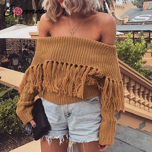 Conmoto Tassel Solid Slash Neck Court Tricots Cozy Hiver Casual Chandail Femmes Lâche Streetwear Pulls Jumper Sexy Club