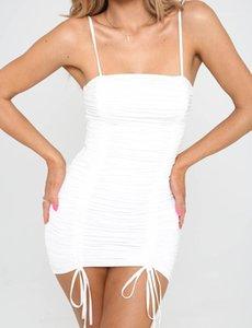 Bodycon vestido de verano de la correa de espagueti Mini vestidos atractivos las mujeres ropa drapeado vaina