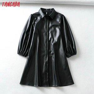 Tangada donne nero PU finto abito di pelle manica tre quarti retrò elegante signore vestito camicia vestido 1Y05