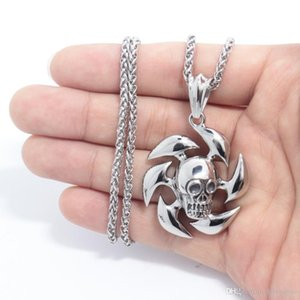 2018 New Products Necklace Men,Biker Motorcycle Style Steel Stainless Steel Skull Pendants Necklaces Charm Jewelry Party Gift