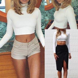 New Style Mode Femmes Femmes manches longues Haut Printemps Casual Coton Doux Couleur Solid Turtleneck Haut Bas Haut Crop