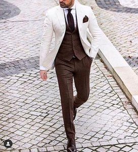 Latest White Jacket Brown Vest Pant 3 Pieces Men's Suit Formal Wedding Groom Suit Blazer Shiny Costume Homme 3 Pieces Masculino