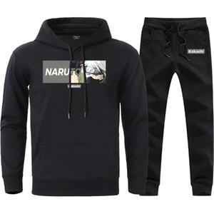 Setleri Erkek Nedensel Gevşek Spor Tişörtü Gevşek Pantolon takımları 2020 Man Marka Yüksek Kalite Kapüşonlular Kazak Suits yazdır Naruto