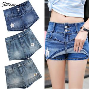 Streamgirl Verão saia feminina shorts jeans curta Jeans Plus Size azul Saias Micro Mini Denim Shorts Womens verão Saias