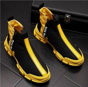 Gli uomini di moda casual Scarpe alti di autunno della molla traspirante Gioventù tendenza di svago Stivaletti Maschio Sneakers da029
