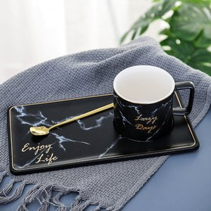 250 500ml Marble Grain Ceramic Coffee Mug Set Outline In Gold Business Office Milk Tea Cup Tumbler Creative Europe Mugs for Gift