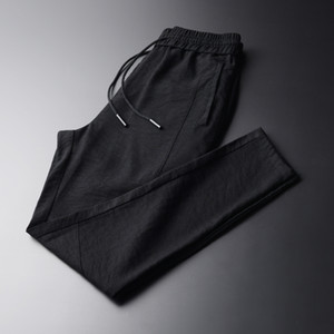 Summer New Casual Black Men Pants Fashion Thin Comfortable Breathable Ankle-length Pants Men Harem Plus Size M-4XL