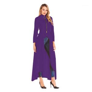 Yaka Hendek Coats Bahar Fermuar Uzun Kollu Tasarımcı Coats Yeni Casual Kadın Giyim Moda Usulsüzlük Standı