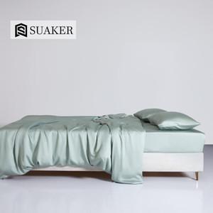 Suaker Women Light Gray 100% Silk Bedding Set Beauty 25 Momme Silk Queen King Quilt Cover Flat Sheet Fitted Sheet Pillowcase