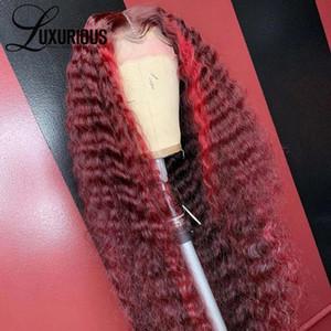 De luxe bouclés rouge Highlight 360 Lace Frontal perruque brésilienne Fermeture perruque 13x6 99J couleur Ombre Lace Front perruques de cheveux humains