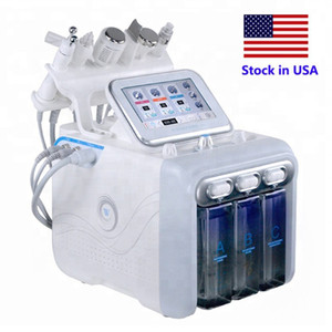 Stock in USA 6 in 1 hydradermabrasion skin scrubber RF cooling hammer ultrasonic oxygen spray spa facial machine