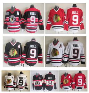 Трикотажные изделия Vintage Hockey Chicago Blackhawks Cheap Mens 9 Бобби Халл Vintage CCM Аутентичные сшитые трикотажные изделия Высокое качество!