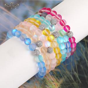 Frauen Männer Art und Weise natürliche grelle Stein Perlen Armband 8mm 6mm polnischen Frosted Bunte Kristallglas-Korn Zircon Kupfer-Kugel-Armband