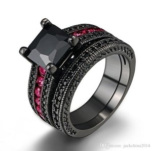 choucong Hot His and Her Couple Ring Set Vintage Jewelry 18K Black Gold Filled Princess Cut Sapphie Gemstones Women Wedding Bridal Ring gift