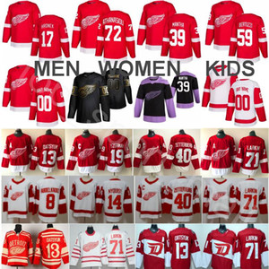Custom Detroit Red Wings Hockey Pavel Datsyuk Jersey Dylan Larkin Steve Yzerman Henrik Zetterberg Tyler Bertuzzi Anthony Mantha Filip Hronek