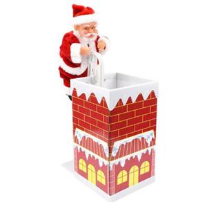 Natal elétrica Escalada os presentes chaminé Papai Noel do bebê Toy Crianças brinquedos eletrônicos com música de Natal Decorações GGA2995-2