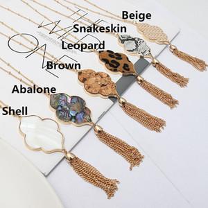 Мода 14K Gold Tone Природные Abalone Shell Quatrefoil Цветочные серьги ожерелье ювелирных изделий Leopard змеиной кожи Подвеска Длинные ожерелья