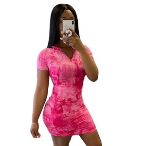 IG Popular Fashion Summer Women Dress Half-neck Short Sleeve Printed Slim Streetwear Dress Red Color Size S M L